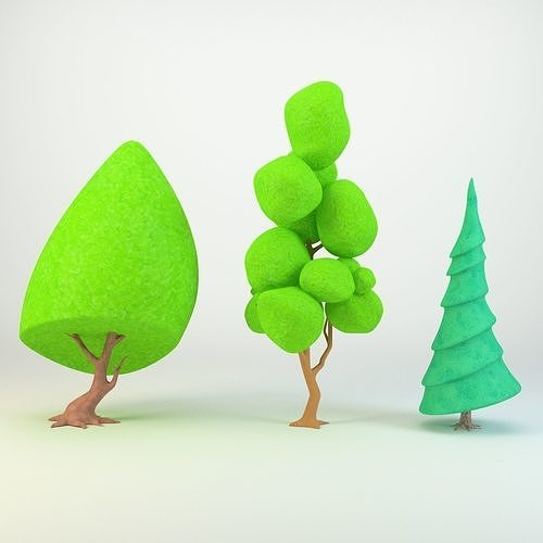 Cartoon tree for game 3d model Low-poly