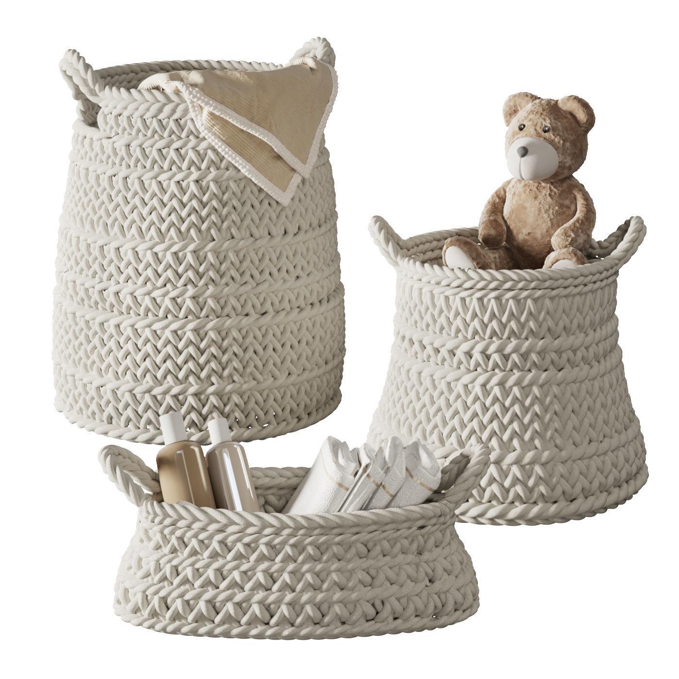 Pottery Barn Ivory Chunky Knit Nursery Storage