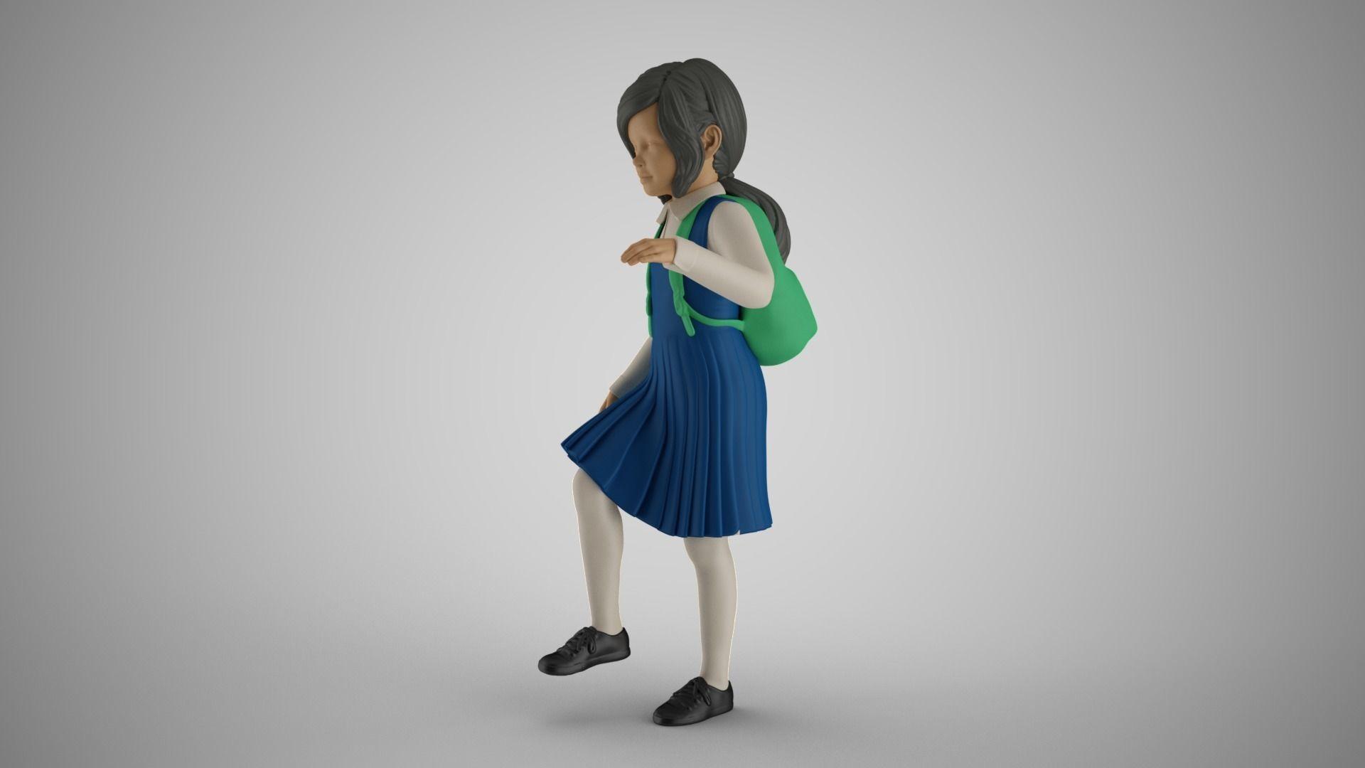Little School Girl Climbing Steps 2