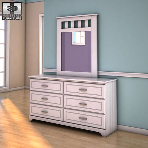Ashley Lulu Dresser Mirror 3d Model Low Poly Max Obj 3ds Fbx C4d Lwo Lw ...