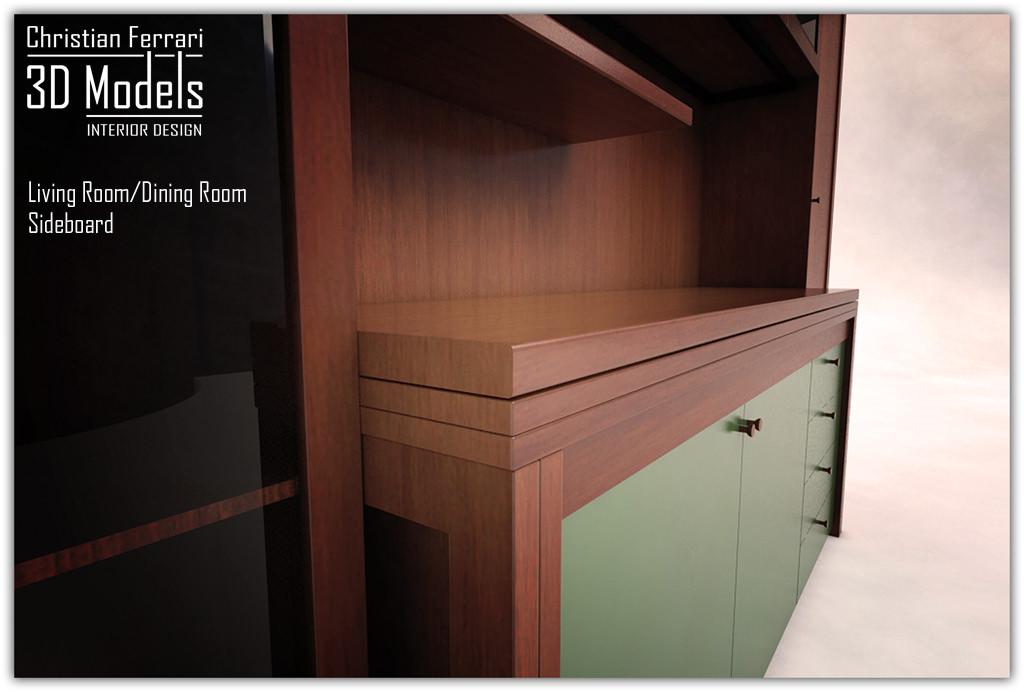 Dining room sideboard 3d model max obj 3ds fbx mtl for Dining room 3d model
