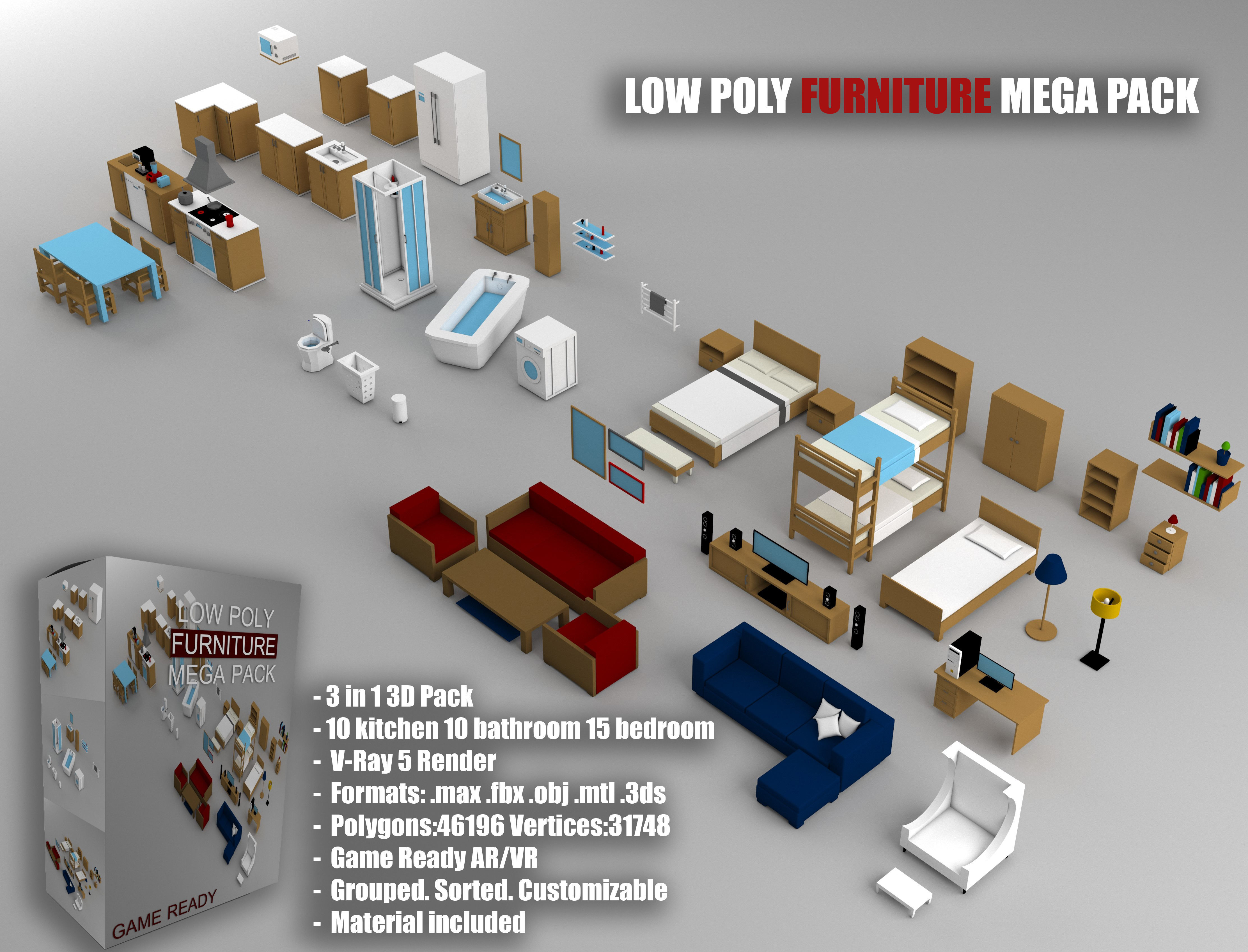 Low-Poly Furniture Mega Pack - Game Ready