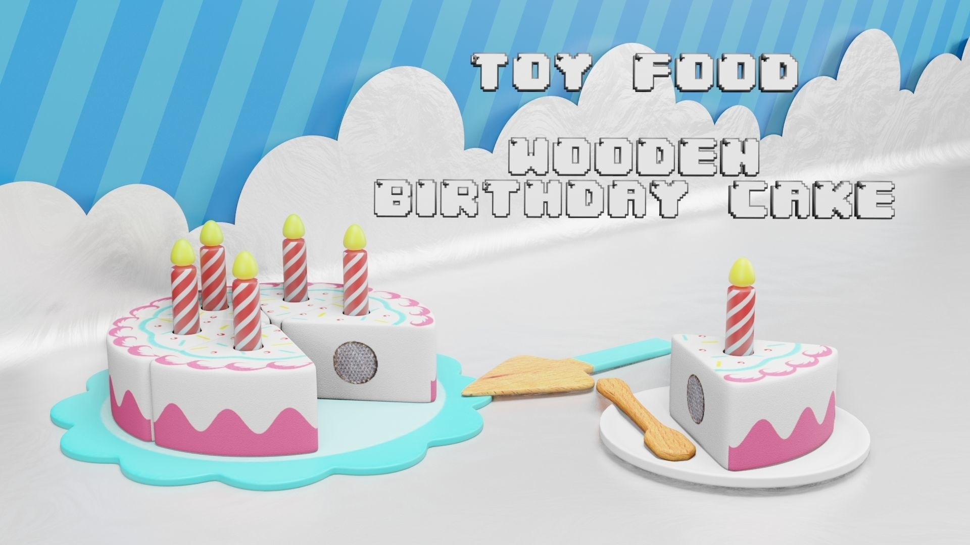 Toy Food - Wooden Birthday Cake - Playset for Children