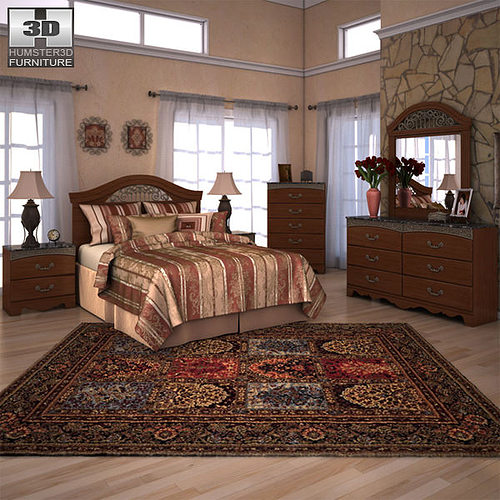 Ashley Furniture Bryant Ar Collection Collection Ashley: 3D Model Ashley Fairbrooks Estate Panel Bedroom Set VR