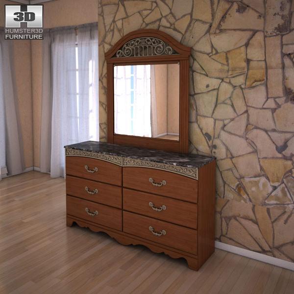 ashley fairbrooks estate panel dresser mirror 3d model max obj 3ds fbx c4d lwo lw lws
