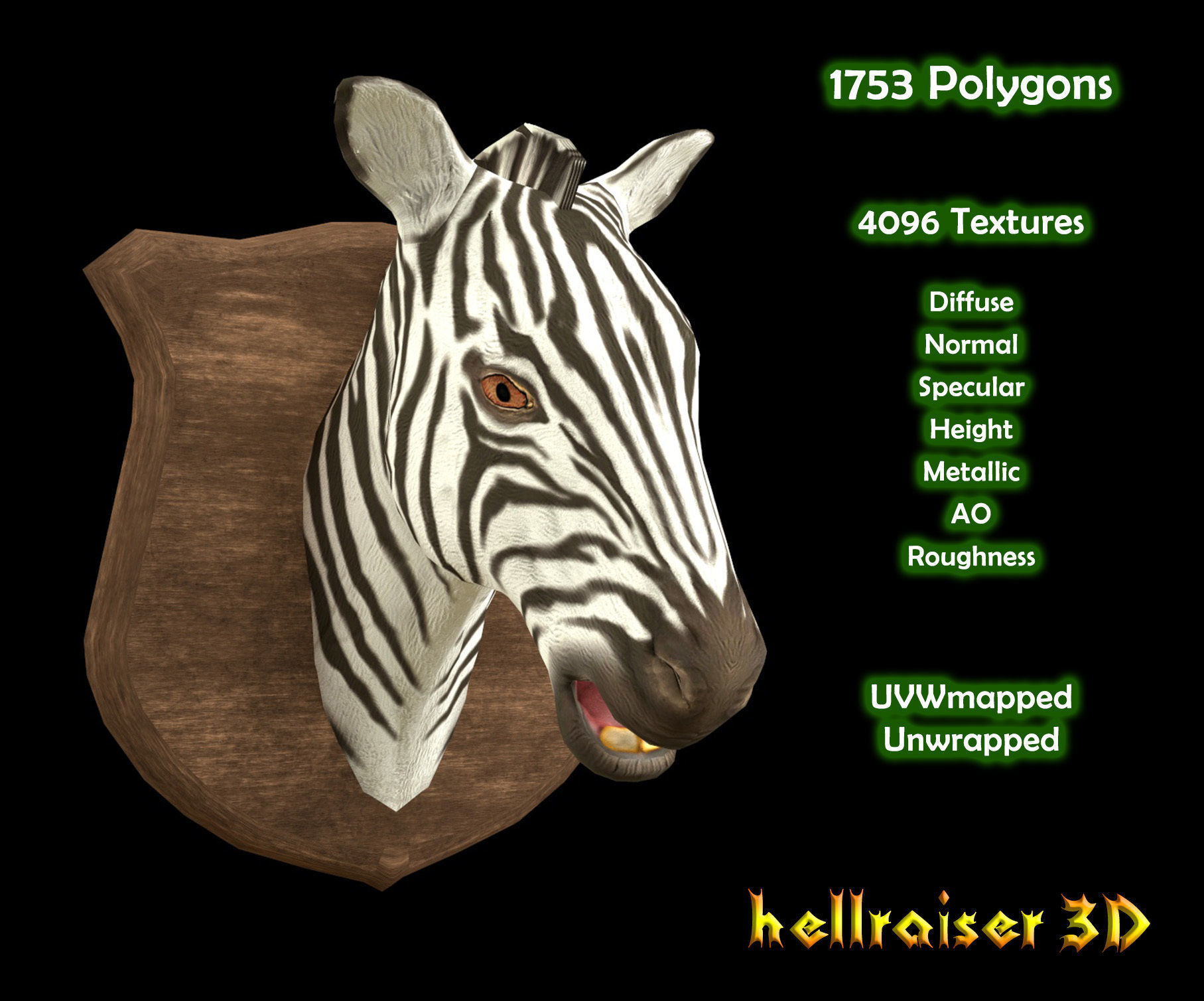 Zebra Head - PBR - Textured
