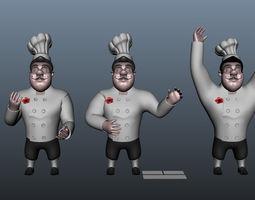 chef cartoon 5 poses 3d model max obj ma mb