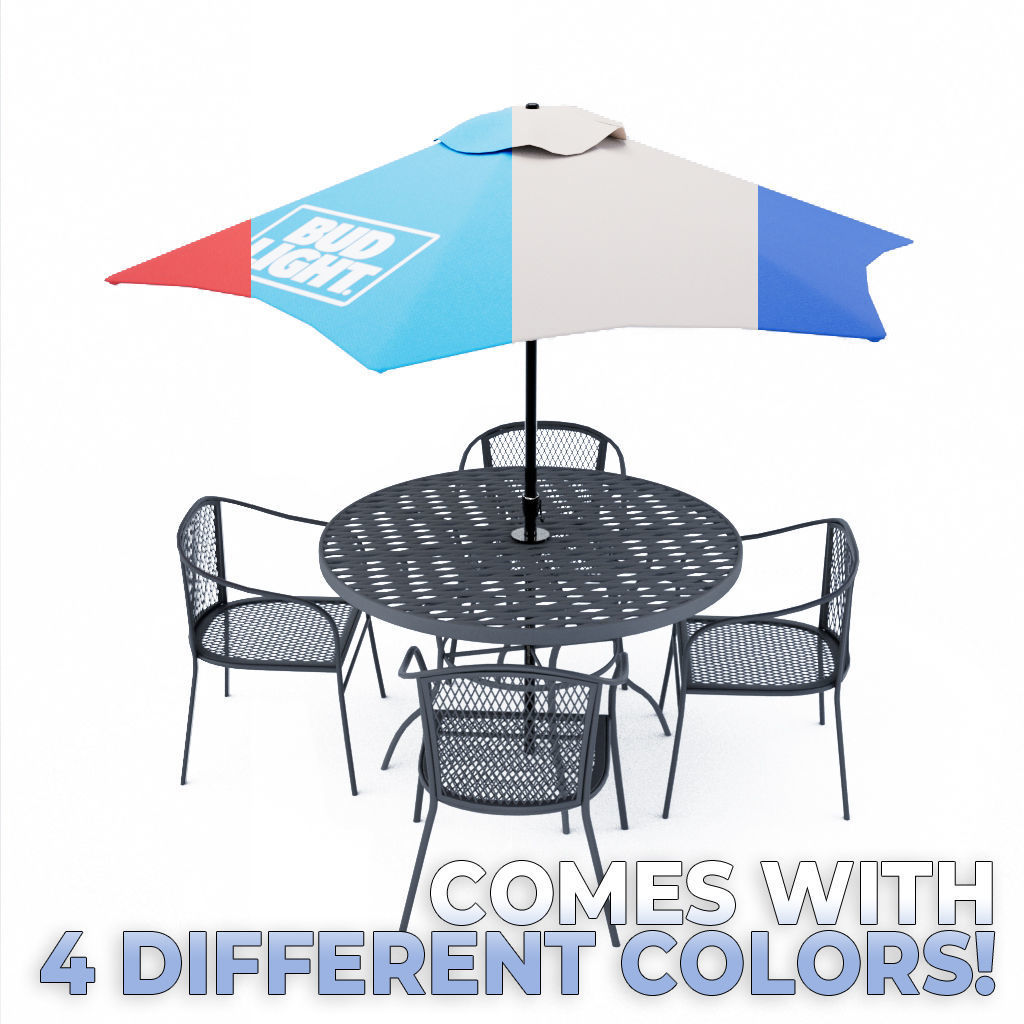 Outdoor table with four chairs 3D model