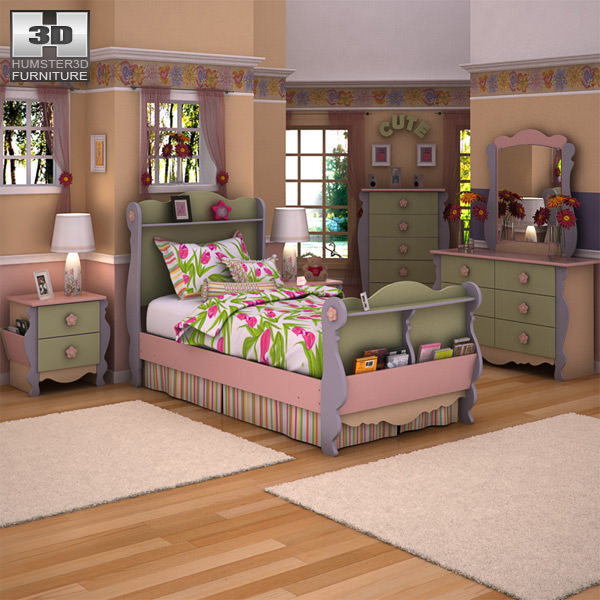 3d model ashley doll house sleigh bedroom set vr ar low poly max obj 3ds fbx c4d lwo lw lws