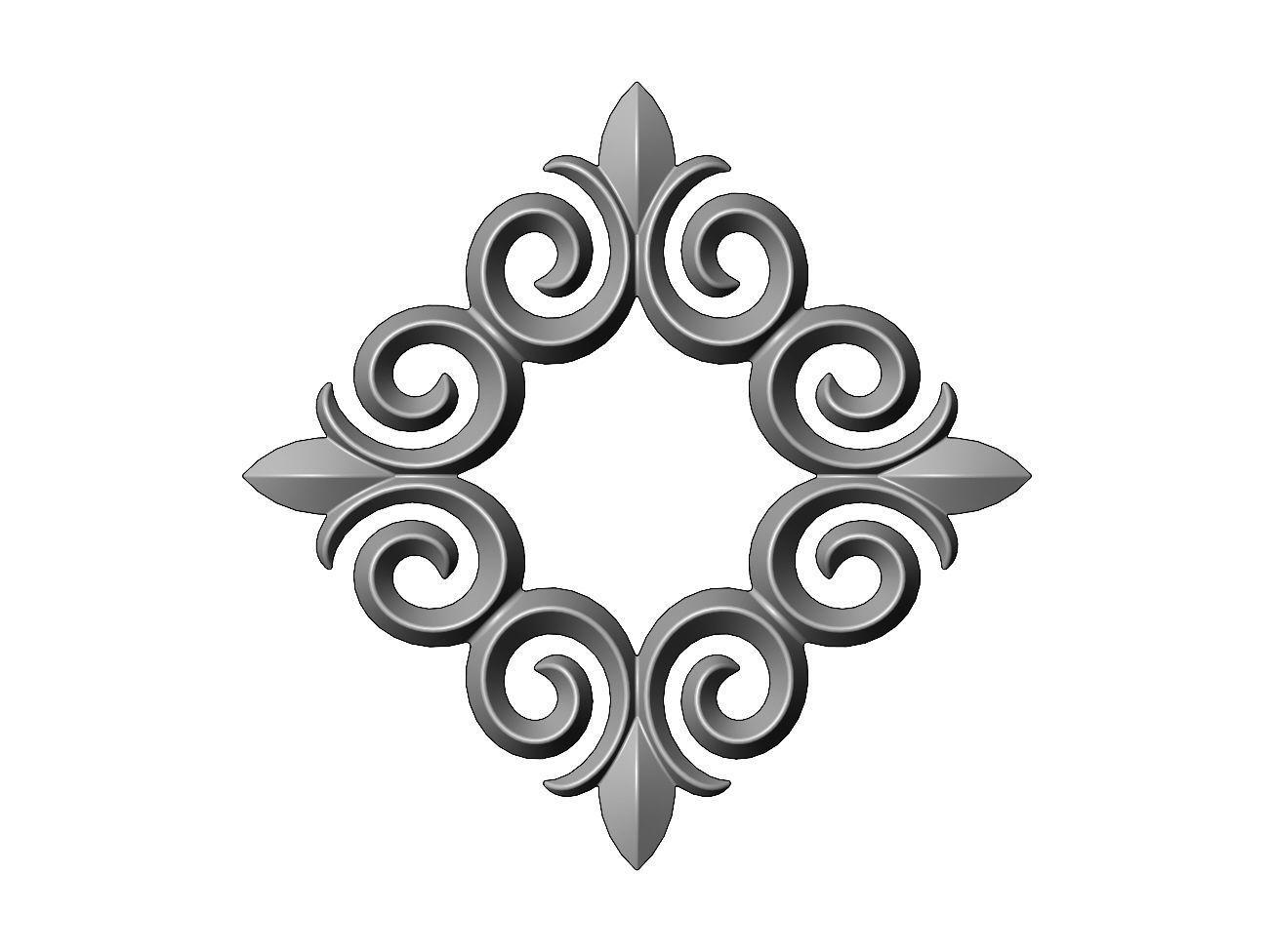 Square floral decoration element relief