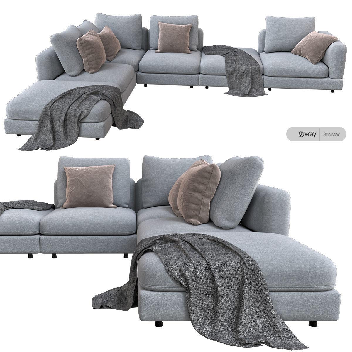 NATURE sectional sofa 3D model MAX OBJ FBX MAT