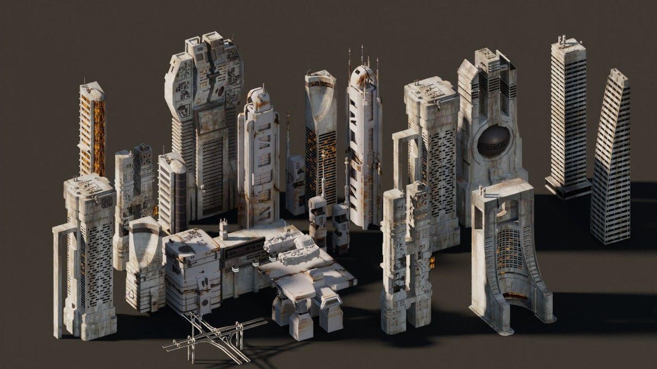 Futuristic city buildings