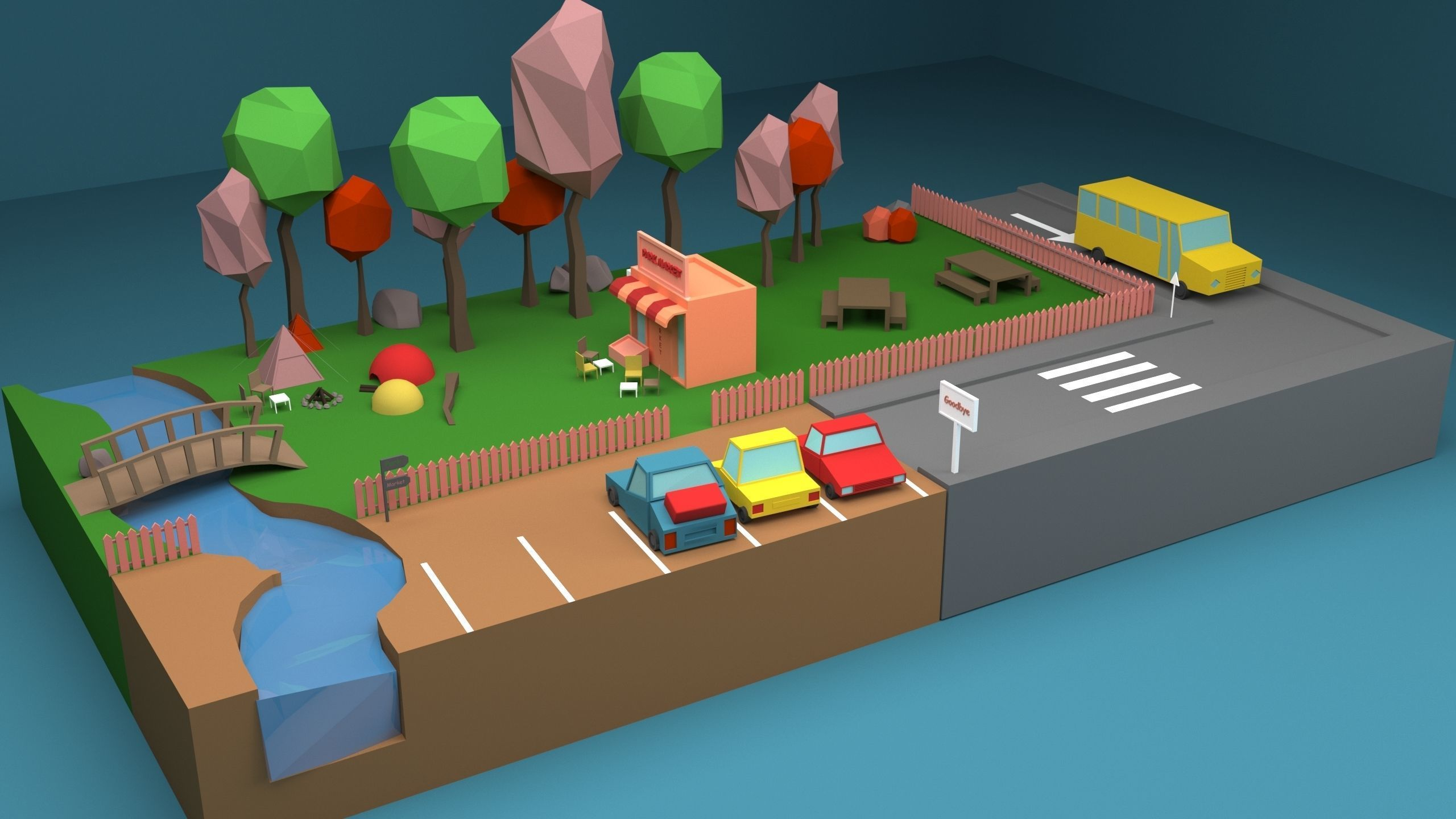 Camp Low-Poly 3D Model