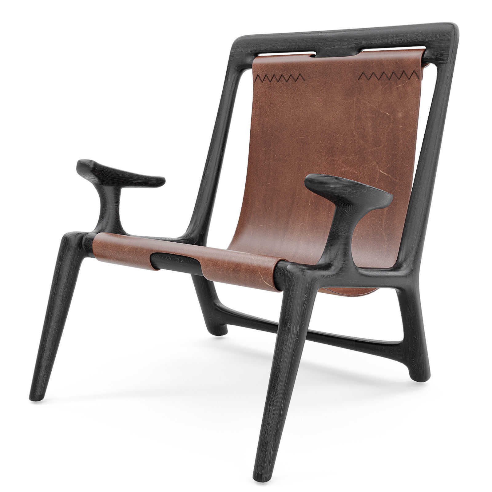 Fernweh Woodworking Sling chair Charcoal ash leather