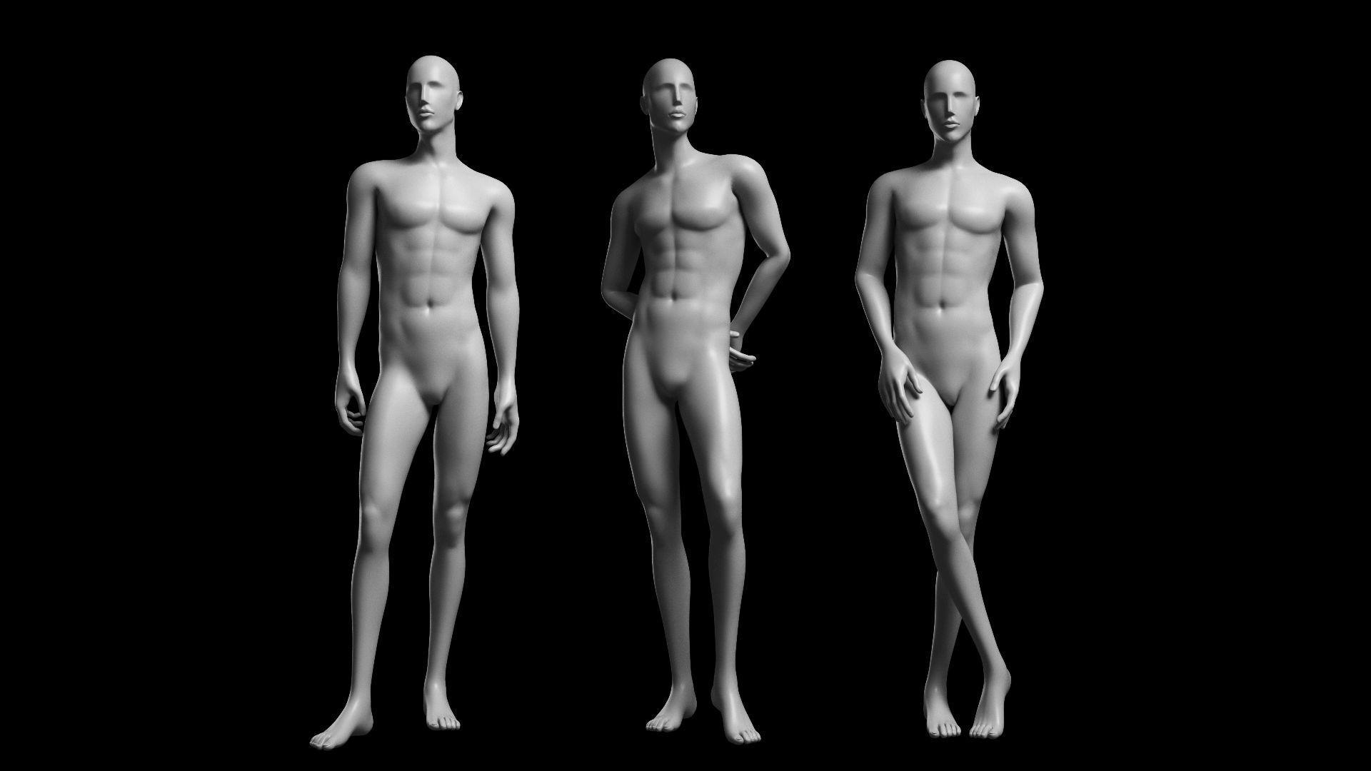 Animated Male Base Mesh v2 - 3 poses