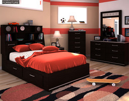 3D model Ashley I-Zone Bookcase Bedroom Set