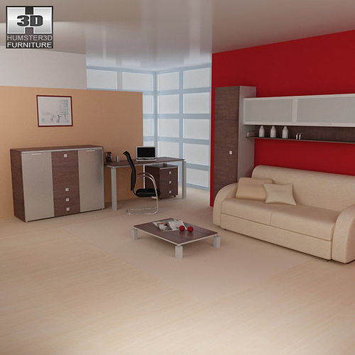 3d model living room furniture 10 set cgtrader for Low living room furniture
