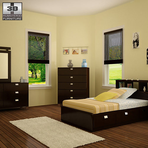 3d Model Bedroom Furniture 25 Set Vr Ar Low Poly Max Obj 3ds Fbx C4d Lwo Lw Lws