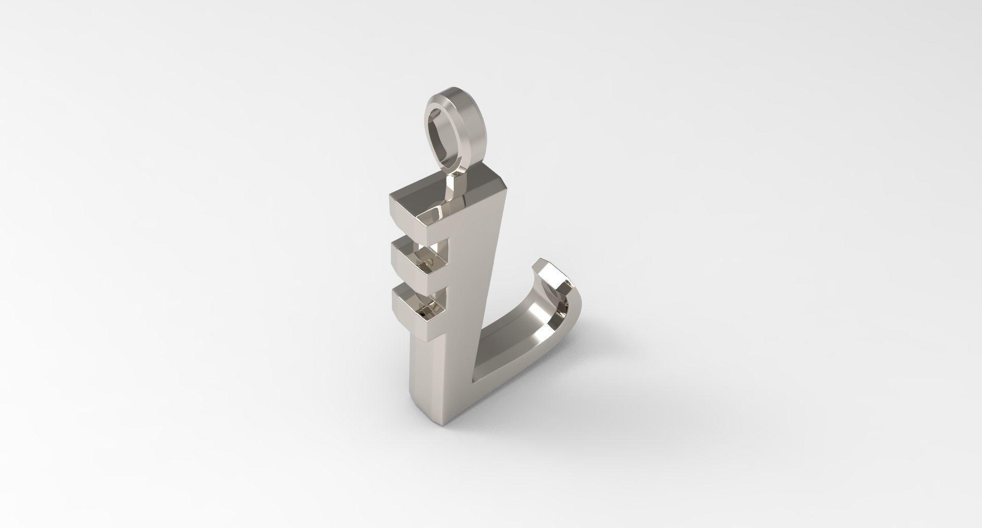 l letter pendant platinum 3d printable model cgtrader cgtrader