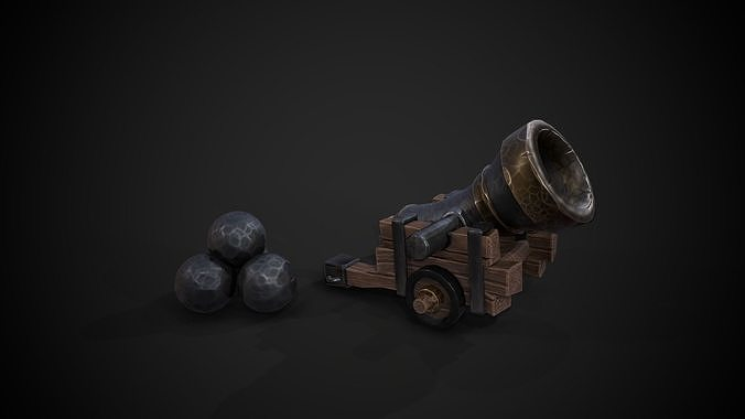 Stylized Cannon with Ball