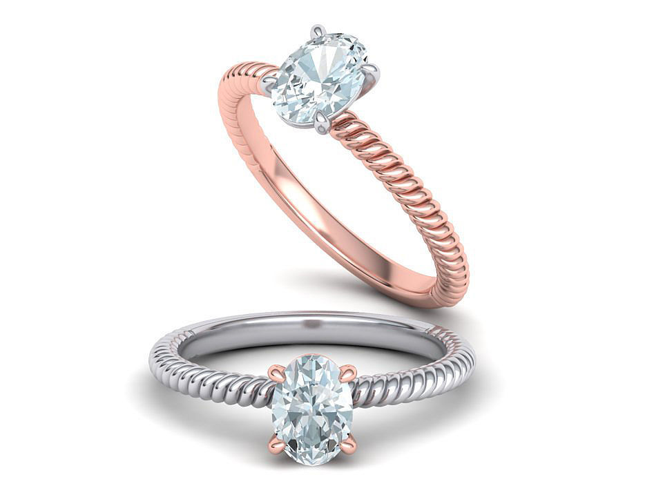 Rope design Solitaire ring 7x5 Oval stone 3dmodel