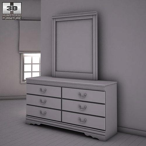 3d Model Ashley Huey Vineyard Sleigh Bedroom Set Vr Ar