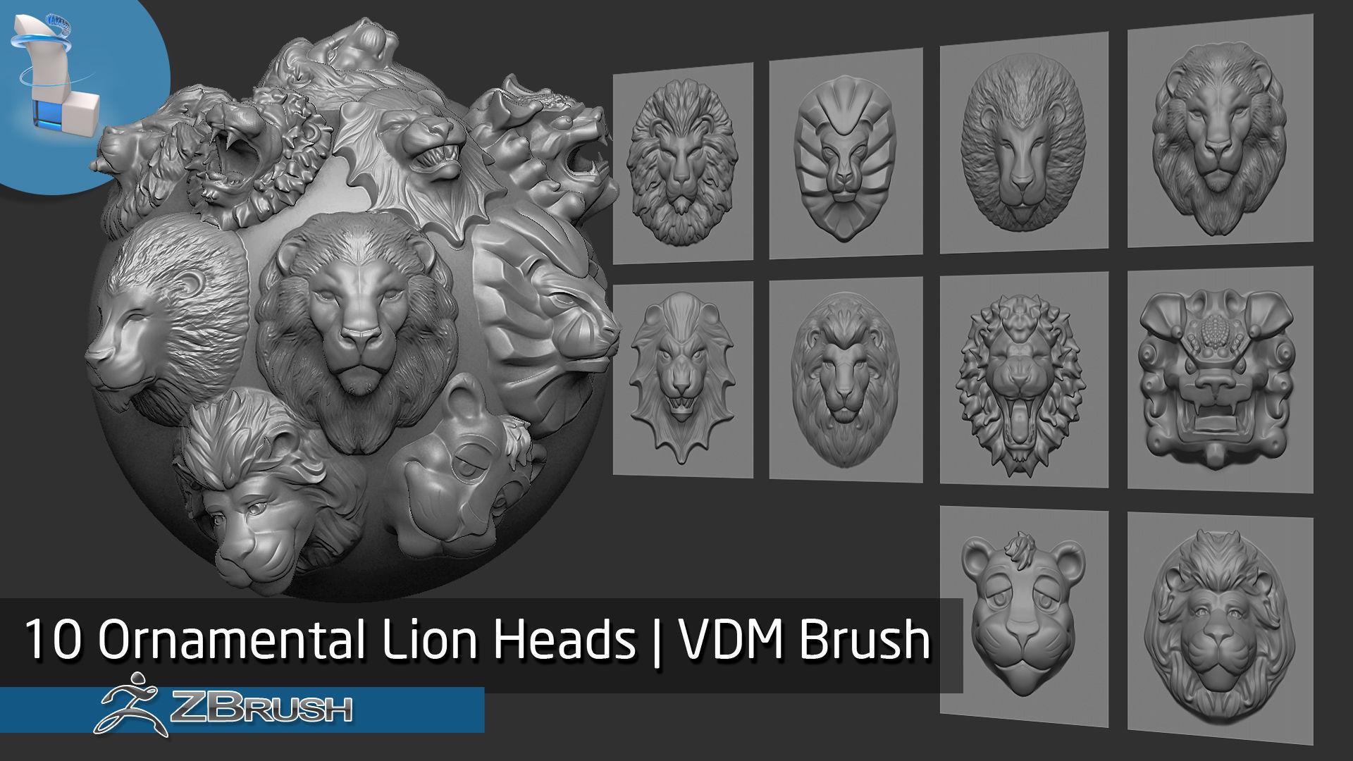 Zbrush - 10 Ornamental Lion Heads VDM Brush