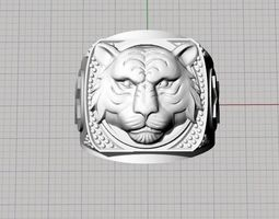 3d print model male lion ring