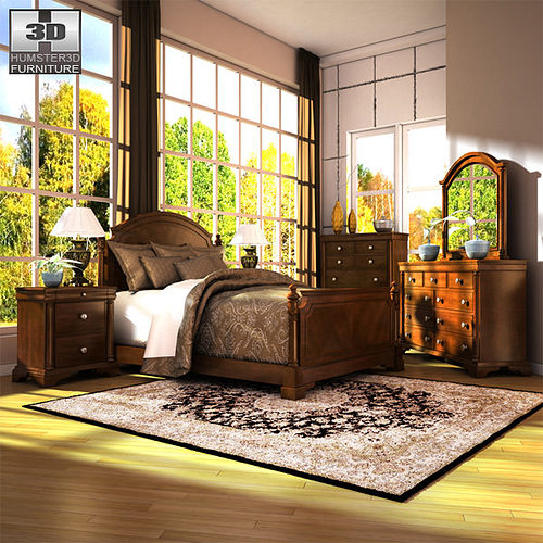 Ashley Furniture Bryant Ar Collection Collection Ashley: Ashley Leighton Poster Bedroom Set 3D Asset