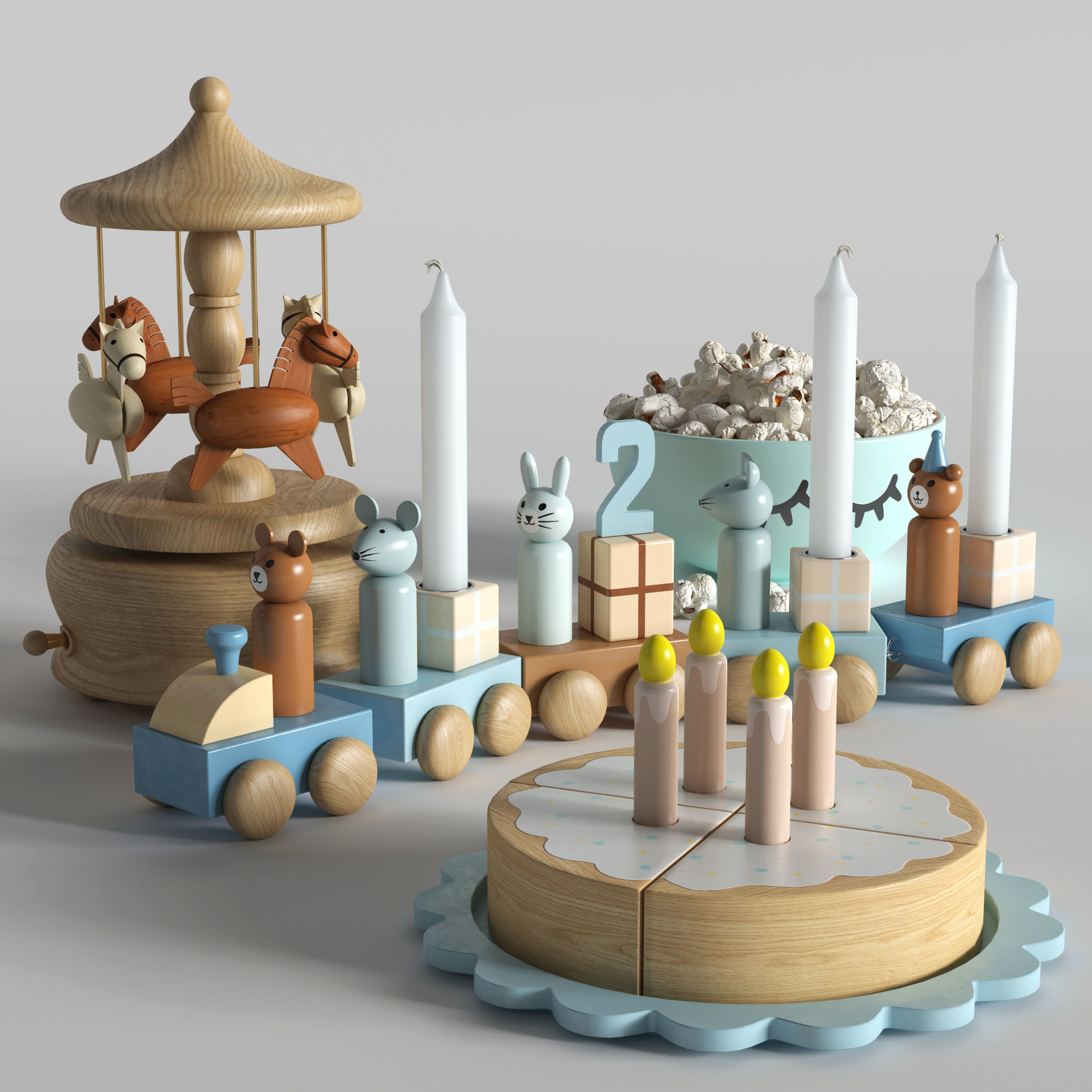 Set of toys with a cake