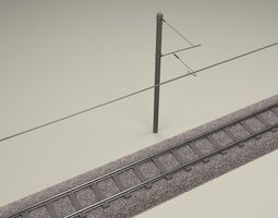 Train Track Electrified 3D