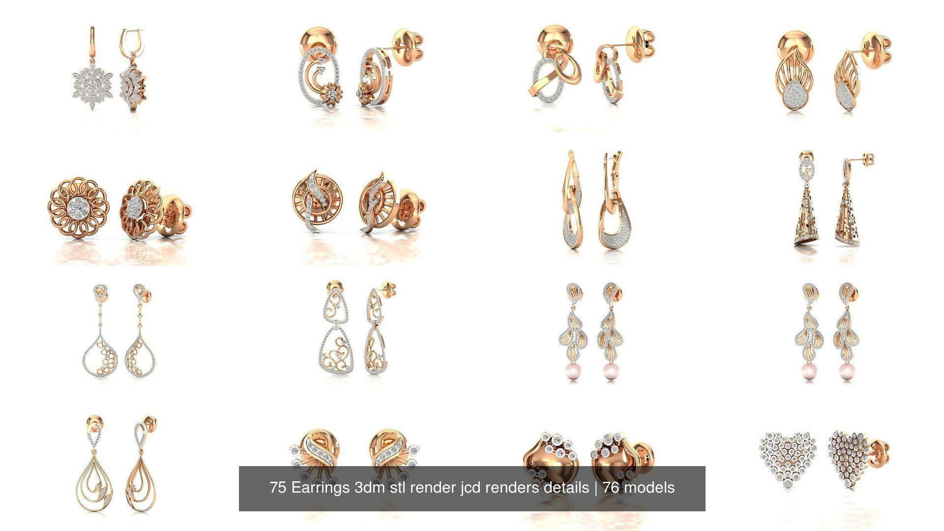 75 Earrings 3dm stl render jcd renders details