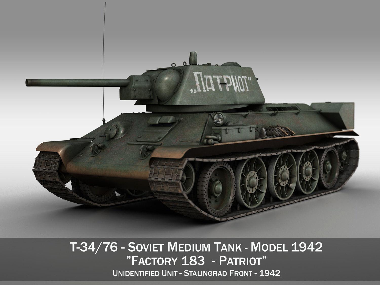 T-34-76 - Model 1942 - Soviet tank - Patriot