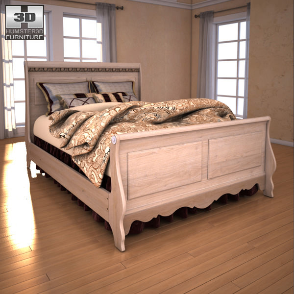 ashley silverglade sleigh bedroom set 3d model max obj 3ds fbx c4d lwo lw lws 3