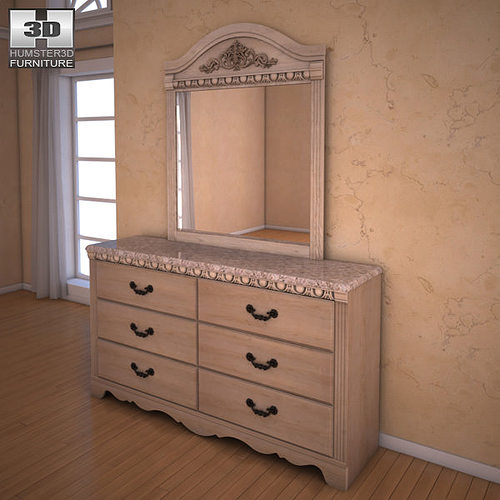3d Asset Ashley Silverglade Dresser Mirror Cgtrader