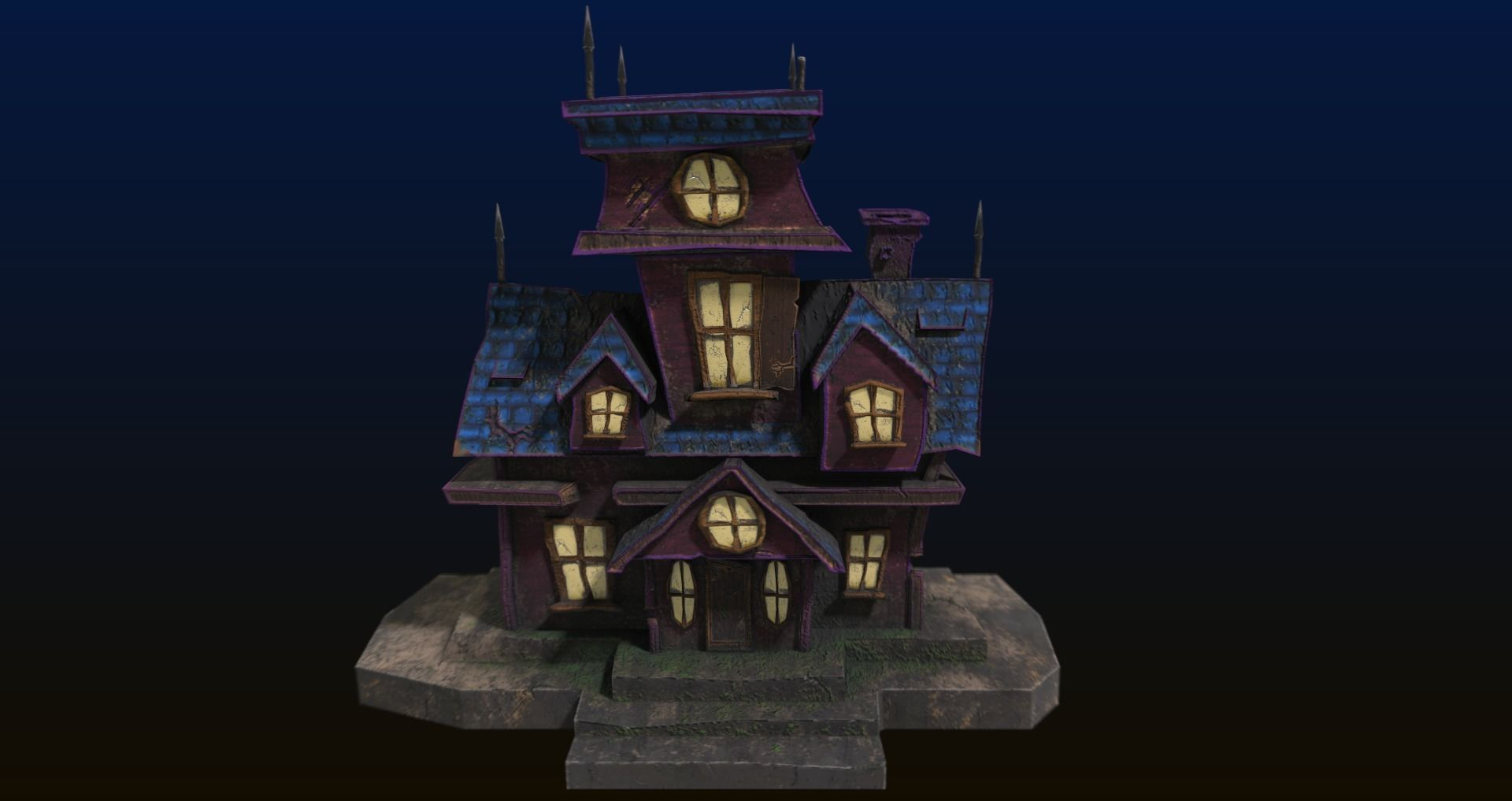 Cartoon style low poly Haunted house