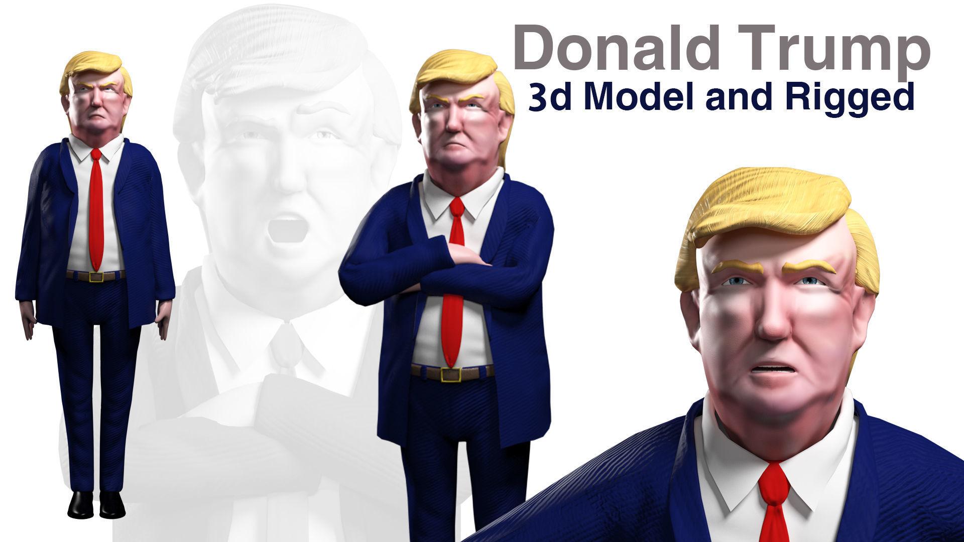 Cartoon Donald Trump 3d model rigged