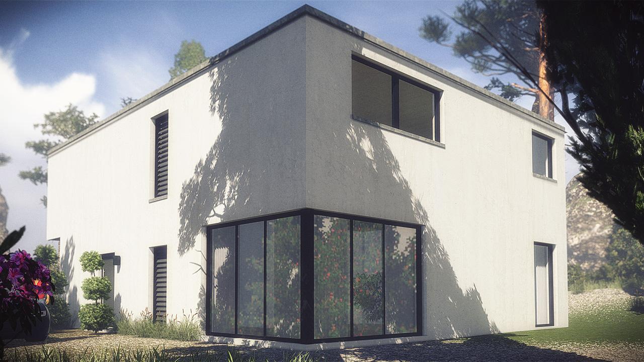 3D model House 2 - Modern ity Villa V / / low-poly M OBJ ... - ^