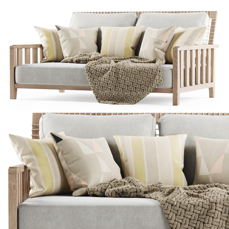 Double wooden garden sofa with plaid 3D model MAX OBJ FBX