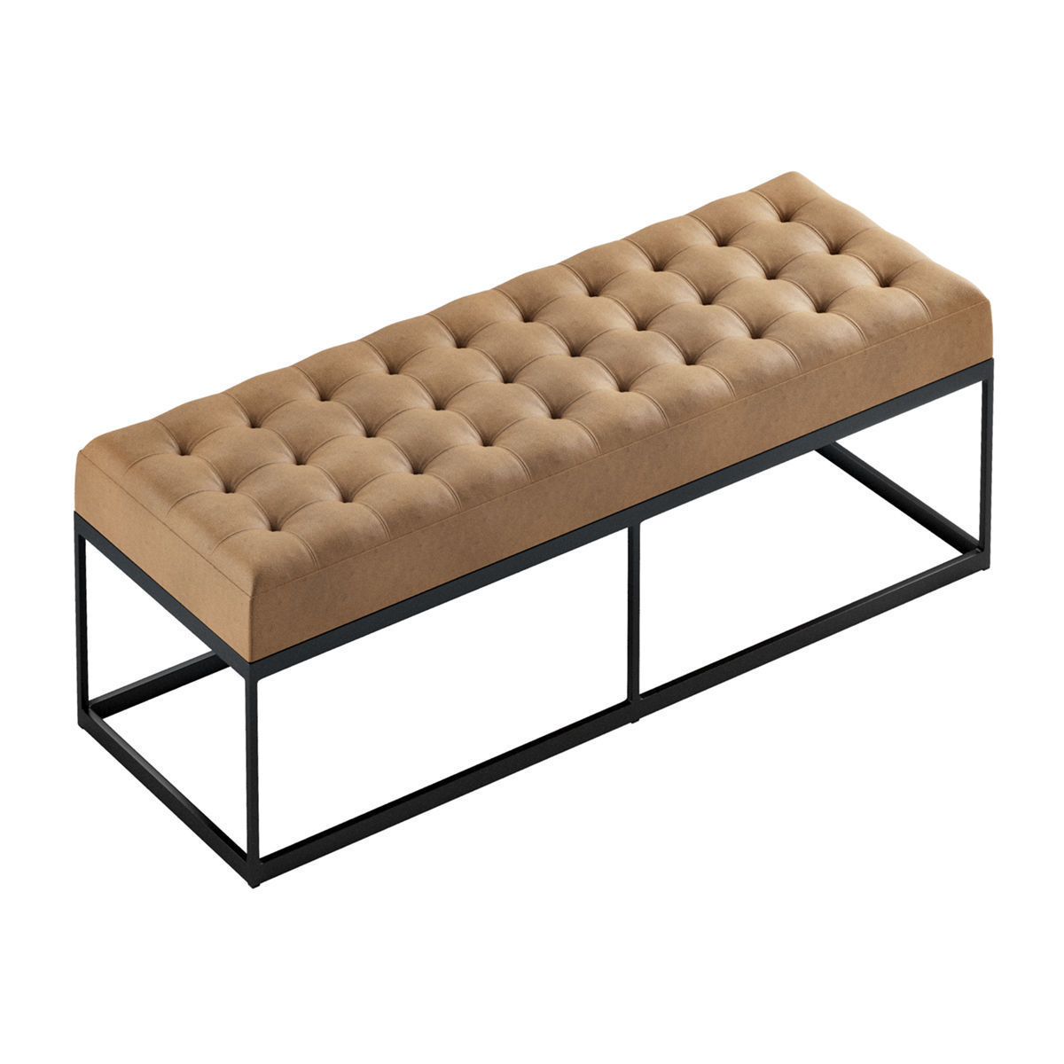 Faux Leather Buttoned Bench