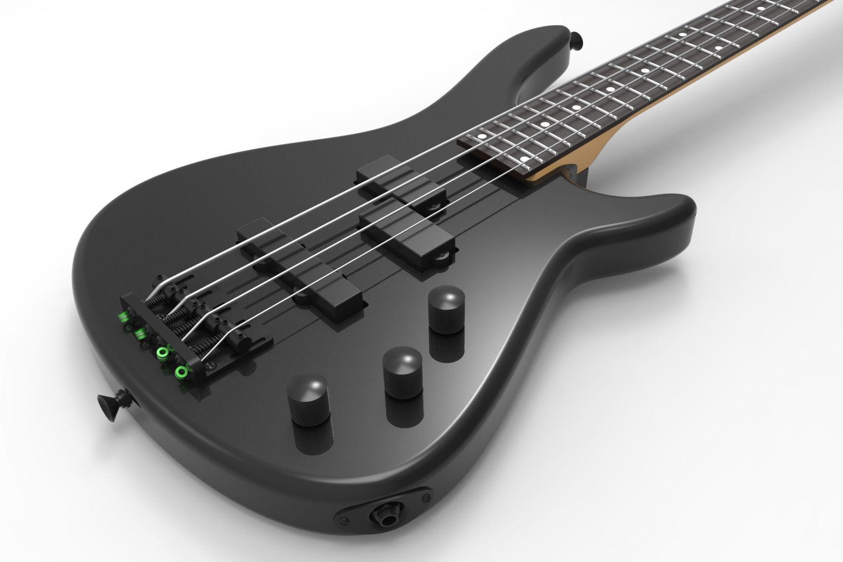 Black 4 Strings Bass Guitar