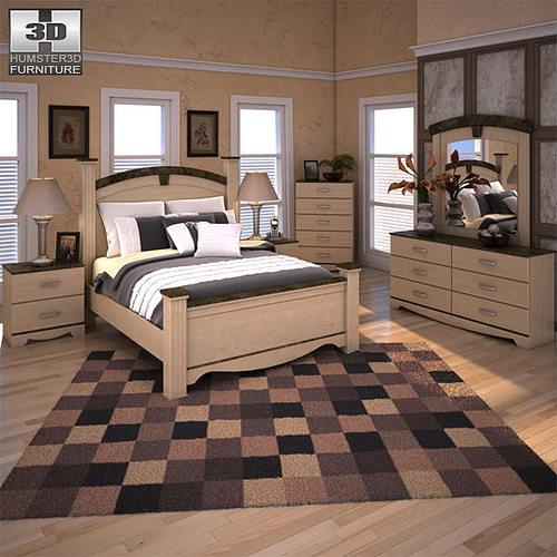 Ashley Olivia Bay Poster Bedroom Set Vr Ar Low Poly 3d Model