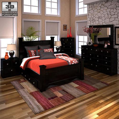 Ashley Shay Poster Bedroom Set 3d Asset Cgtrader