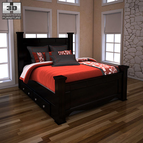 3D Model Ashley Shay Queen Poster Bed With Storage VR / AR