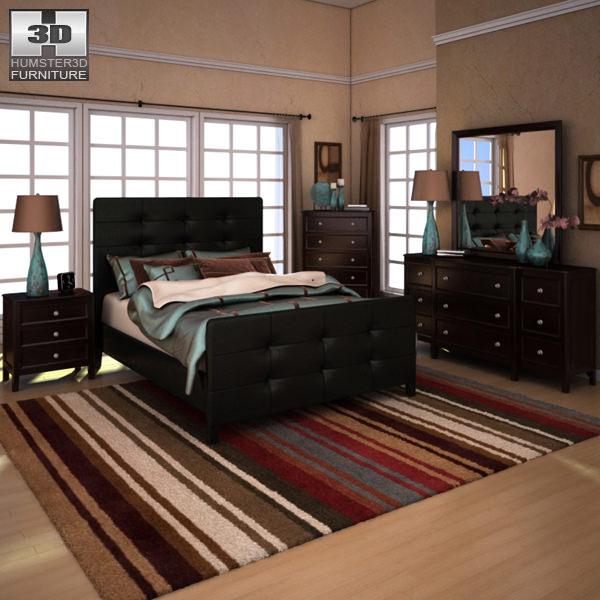 Ashley Carlyle Upholstered Bedroom Set 3D model | CGTrader