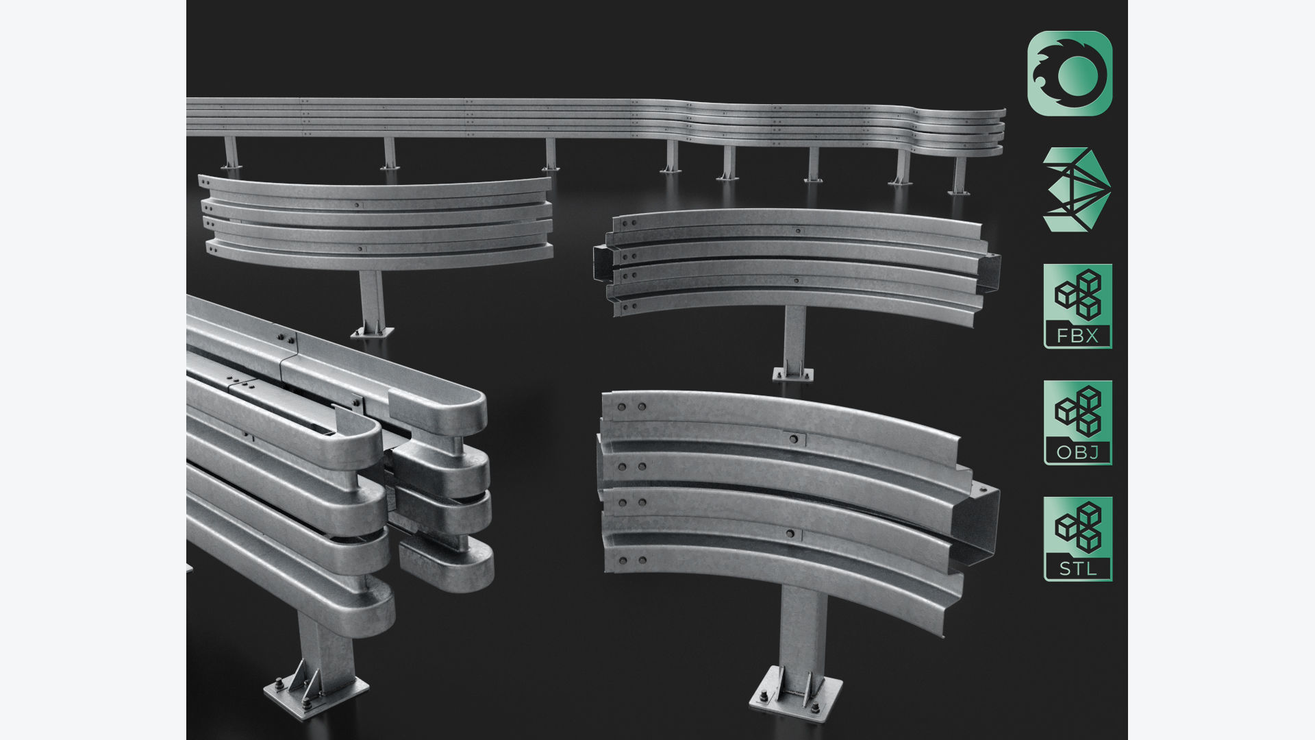 Road Barrier Modular Detailed collection