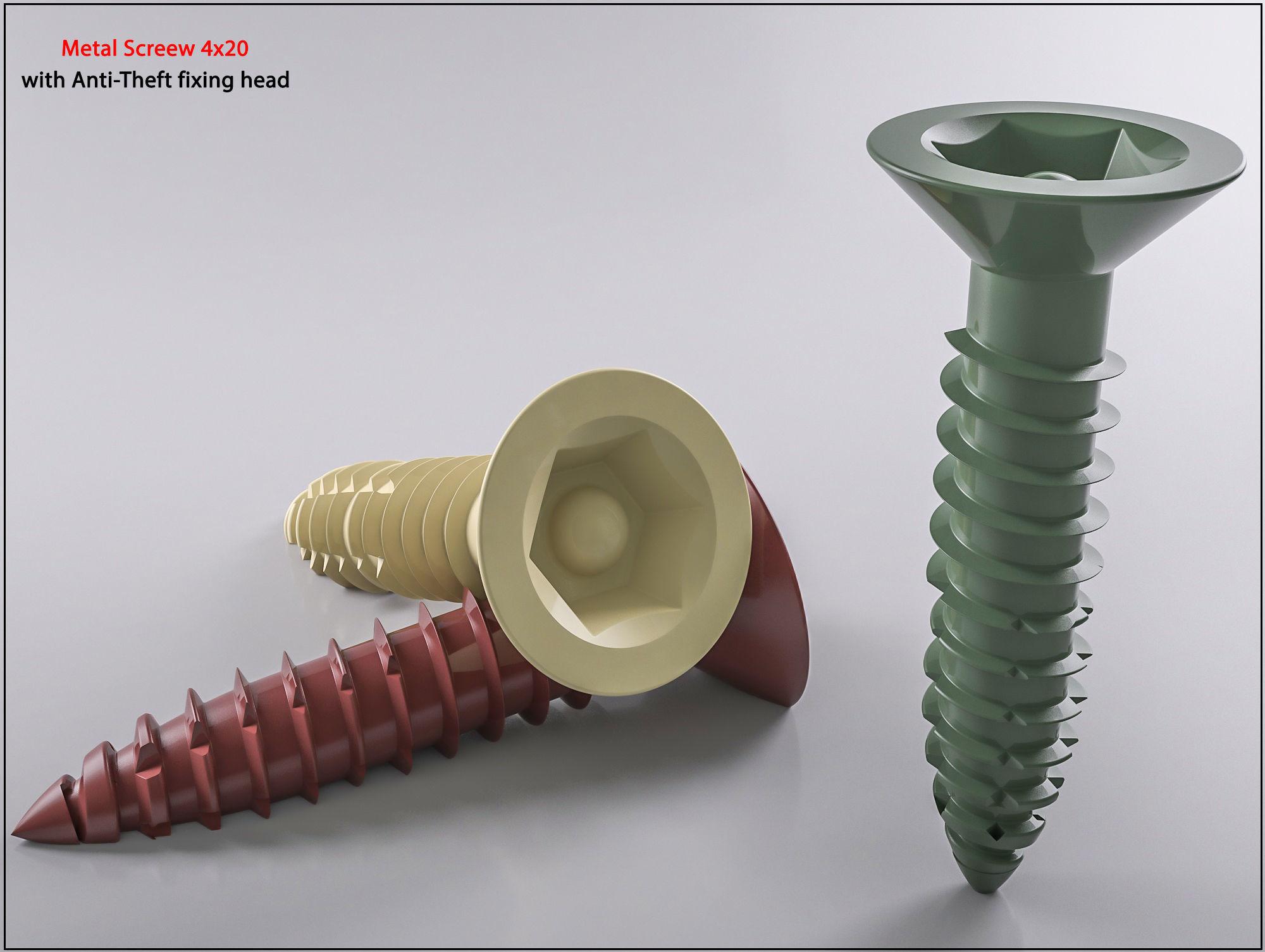 3D Screw  Metal Screw 4x20 Original Sizes Ready for 3D Print
