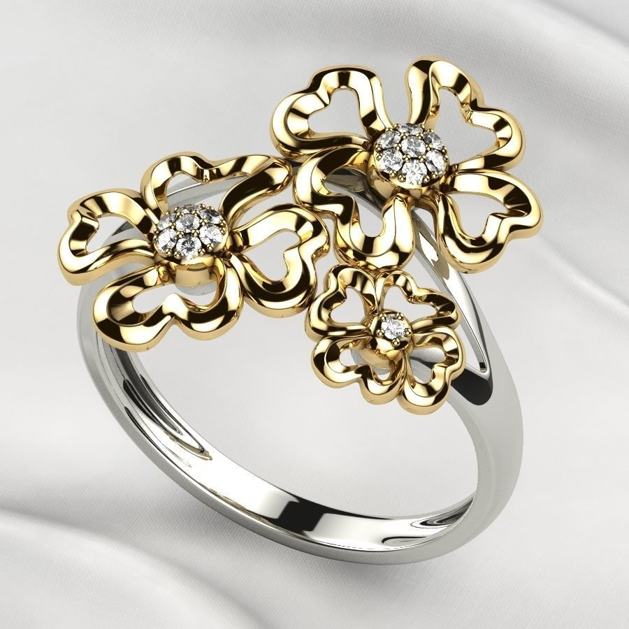 Sweet Flowers Gold Ring