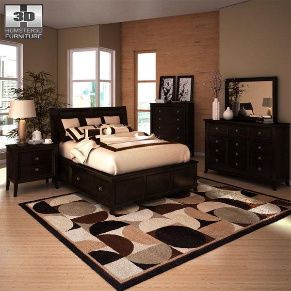 3d Model Ashley Martini Suite Storage Bedroom Set Vr Ar Low Poly Max Obj Mtl 3ds Fbx