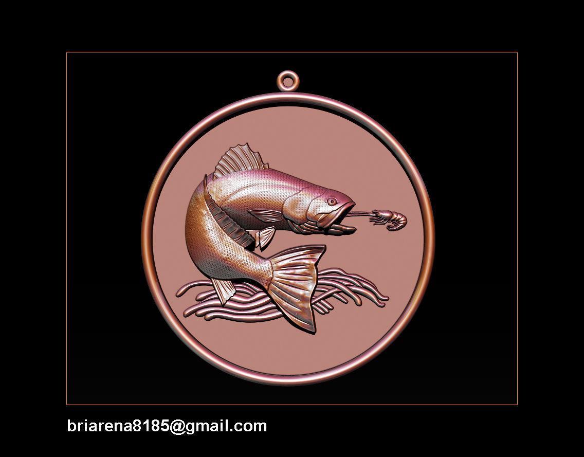 Pendant Little Salmon -  Bas Relief for cnc carving